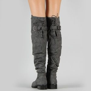 NEW🔥Charcoal Lace-Up Slouch Over Knee Riding Boot